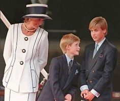 Queen Elizabeth's grandsons William and Harry with their mother Princess Diana