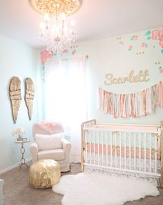 Coral, Mint and Gold Girl's Nursery - love this mint walls with pops of gold and floral!