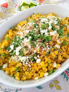 Mexican Street Corn (Esquites) - - An easy recipe for Esquites - or Mexican Street Corn - served off the cob as a side dish or warm salad with Mexican crumbling cheese, a creamy spread, fresh cilantro and chili powder. Mexican Corn Side Dish, Taco Side Dishes, Mexican Street Corn Salad, Side Dish Recipes, Fried Chicken Side Dishes, Cooking Avocado, Corn Salad Recipes, Corn Salads, Cinco De Mayo