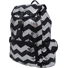cefd318694 2 Tone Glittery Sequin Drawstring Cheer Yoga Dance Girly School Backpack  Bookbag (Black) NGIL