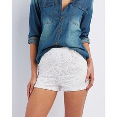 🚭Charlotte Russe shorts These have been worn. No stains. Good condition. These come down to about above the knee. Like booty shorts but a little longer. Very cute. Can style with a patterned shirt with a cute necklace. Charlotte Russe Shorts
