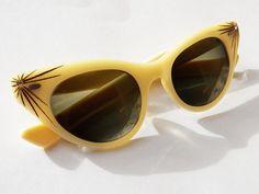 Vintage 1950s rare pale yellow Shuron cateye glasses