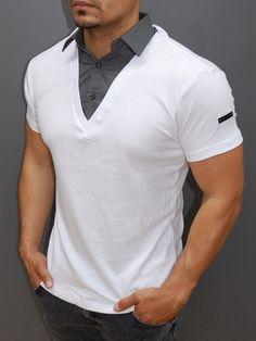 R&R men stylish fused collar t-shirt - white gola polo, polo t shirts, Mens Polo T Shirts, Polo Shirt, Tee Shirts, Camisa Polo, One Clothing, Mens Clothing Styles, Lacoste, Ripped Jeans Style, Kurta Pajama Men