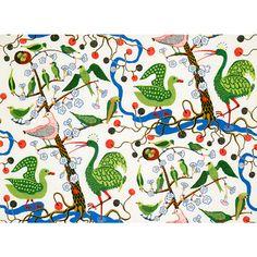 Textil Gröna Fåglar Bomull Satin