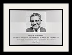 "Vince Lombardi Photo Picture Poster Framed Quote ""The dictionary is the only place that success comes before work."" Portrait Famous Inspirational Motivational Quotes (19x25 Framed)"