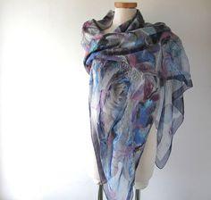 Nuno felted scarf Blue felt scarf  women silk scarf  Floral