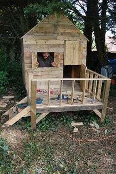 Simple Playhouse, Dog Rooms, Shed Design, Play Houses, Curb Appeal, Woodworking, Construction, Building, Outdoor Decor
