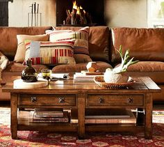 Benchwright Coffee Table - Rustic Mahogany stain #potterybarn. Love this coffee table!