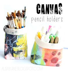 DIY Canvas Pencil Holders (free tutorial by Alisa Burke) Fabric Crafts, Sewing Crafts, Sewing Projects, Craft Projects, Diy Crafts, Sewing Patterns Free, Free Sewing, Quilt Patterns, Free Pattern