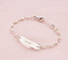 Pearl ID Bracelet #PotteryBarnKids - I will definitely be getting Baby Simpson a baby ID bracelet like I had