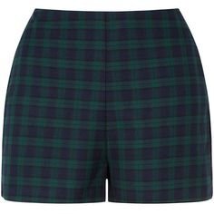 Navy and Green Check Shorts (£12) ❤ liked on Polyvore featuring shorts, gold shorts, navy green shorts, reverse shorts, reversible shorts and navy blue shorts