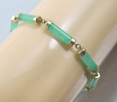ON SALE Chinese Jade Bracelet 14K Yellow Gold by TonettesTreasures