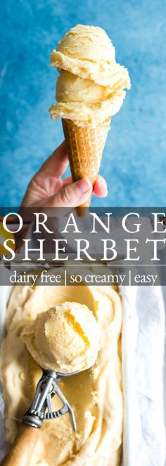 Made with the season's freshest citrus, this Orange Sherbet is creamy and bursting with the freshest orange flavor! Made with coconut milk, this frozen treat is creamy with a hint of coconut and vanilla. ____________________ orange sherbet recipe | vegan ice cream | dairy free ice cream | Ice cream maker | summer ice cream | Orange ice cream | orange sherbet recipe easy Sugar Free Desserts, Frozen Desserts, Gluten Free Desserts, Frozen Treats, Healthy Desserts, Just Desserts, Delicious Desserts, Dessert Recipes, Vegan Sweets