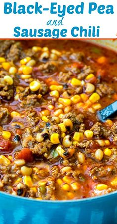 Black-Eyed Pea and Sausage Chili - Spicy Southern Kitchen Chilli Recipes, Pea Recipes, Mexican Food Recipes, Soup Recipes, Dinner Recipes, Cooking Recipes, Cooking Chili, Cooking Lamb, Cooking Fish