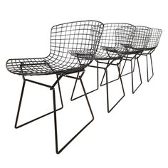 Set of four vintage dining chairs by Harry Bertoia for Knoll