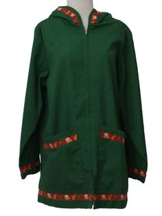 70s -Missing Label Only- Womens green longsleeve, zippered front polyester cotton blend hippie jacket with cute attached hood, with whimsical frog, mushrooms and duck print red trim along the hood, cuffs, two lower front patch pockets and bottom hem. Faint discolorationon front, difficult to spot in wear and may lessen with additional treatment.