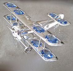 Airplane Biplane Suncatcher with 12 Swarovski Prisms, Anti Tarnish Silver Plate