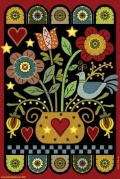Jeremiah Junction  House Flag - Pennyrug Hearts and Flowers