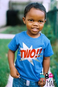 KaPow Birthday Number Tshirt Superhero Birthday Shirt Can be customized for any age!