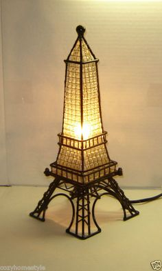Royal Paris Eiffel Tower French Decor Stained Glass Lam...