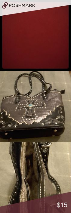 Western purse Black with turquoise cross Bags Shoulder Bags