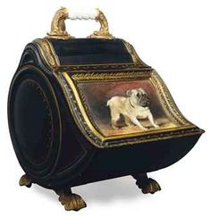 Gilded Victorian Tole Scuttle with Hand Painted Pug
