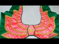 blouse back neck design /lotus flower design – dressideas Blouse Back Neck Designs, Chudi Neck Designs, Salwar Neck Designs, Simple Blouse Designs, Stylish Blouse Design, Designer Blouse Patterns, Fancy Blouse Designs, Bridal Blouse Designs, Lotus Models