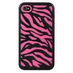 Etch Hybrid Case Hot Pink Skin + Black Zebra for iPhone 4 / 4S