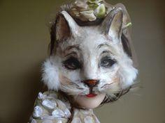 Kitty Cat Paper mache animal mask cat mask cat by MiesmesaBerni