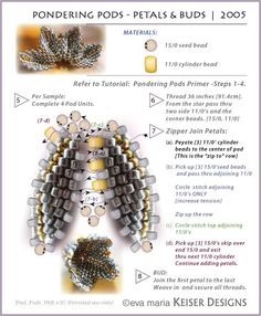 """Steps 7 - 9 of pondering pods (How to make flowers & buds using peyote & herringbone weaves). This is also a link to the website and other patterns for """"Pondering Pods"""". (by Eva Maria Keiser Designs: Keiser Designs Tutorials: Pondering Pods Seed Bead Patterns, Beaded Jewelry Patterns, Beading Patterns, Bracelet Patterns, Jewelry Making Tutorials, Beading Tutorials, Design Tutorials, Seed Bead Jewelry, Seed Beads"""
