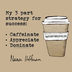 My 3 Part Strategy for Success Caffeinate. Appreciate. Dominate. @nanea #coffee #coffee_quotes #success #CoffeeQuotes