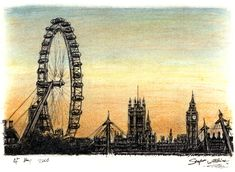 London Eye and Houses of Parliament - drawings and paintings by Stephen Wiltshire MBE