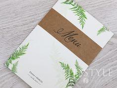 Menu weselne rustykalne z dodatkiem papieru ekologicznego oraz paprocią, karty menu w formacie A5 rozkładane, ze spisem dań weselnych we wnętrzu, wzór FL-62-M-(A5).