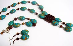 Gemstones Mosaic Turquoise Tiger's Eye Jewelry Set Gift for Her #Handmade#Chakra #Fengshui #Love #Healing #Protection #GoodLuckStone #Semiprecious #Stone