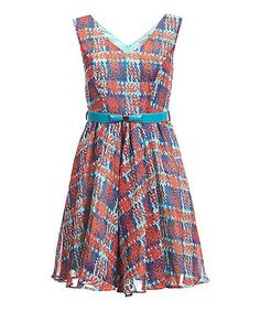 Look at this Darling Red Plaid Miriam Belted Dress on #zulily today!
