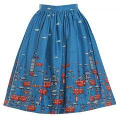 'Adalene' Blue London Traffic Print Swing Skirt