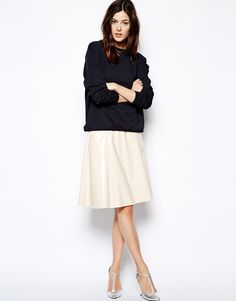 Full Midi Skirt In Patent Leather Look