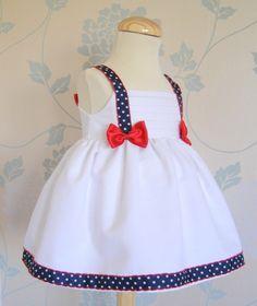 Inspiration for a patriotic doll dress. Baby Dress Design, Baby Girl Dress Patterns, Little Dresses, Little Girl Dresses, Sewing For Kids, Baby Sewing, Baby Frocks Designs, Kids Frocks, Toddler Dress