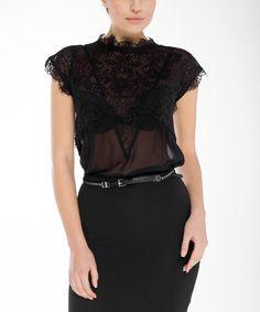 Look at this #zulilyfind! Arefeva Black Sheer Lace Blouson Bodysuit by Arefeva #zulilyfinds