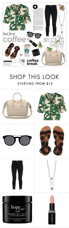 """""""Caffeine Fix: Coffee Break"""" by mars ❤ liked on Polyvore featuring Givenchy, Topshop, Valentino, Billabong, philosophy, Smashbox, Monica Vinader and coffeebreak"""