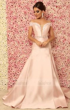 V-neck Beaded Long Evening Dress, Evening Dress, - Women Dresses for Every Age! Evening Dresses, Prom Dresses, Formal Dresses, Wedding Dresses, Stretch Satin, Marie, Chiffon, Gowns, Skinny