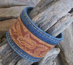 Denim & Leather Cuff