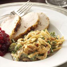 Jazzed-Up Green Bean Casserole   #thanksgiving #autumn #holiday #food #dinner #savory #baking