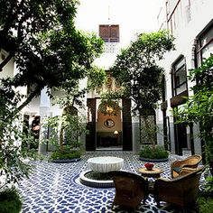 Patio in a riad (= house) in Morocco.