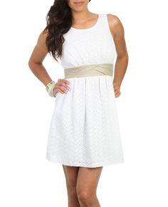Scoop Neck Eyelet Dress - Graduation Dresses