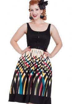 6ee2948918 Voodoo Vixen Jean Border Print Flaired Dress Plus Size Black Cream