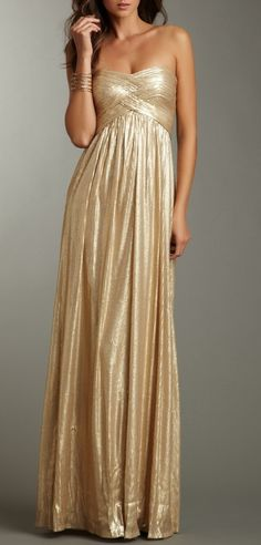 This gold flowing tube dress is simply elegant and stunning!  #gold #wedding #dress
