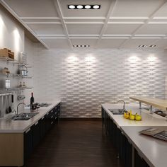 3D Textured Wall Tile White Eco Friendly Material 3 m²