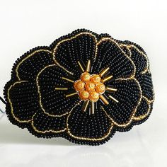 Black Flower Embroidered Headband by BeadsForBeauty on Etsy, $55.00