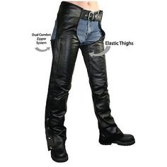 Xelement B7556 Womens Black Braided Zippered Leather Chaps #harleydavidsonchaps